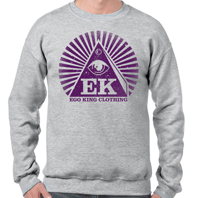 EGOKING Sweater LOGO 19 heather grey/purple