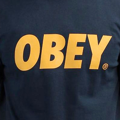 5f76a1f88e74b Obey Clothing - OBEY T-Shirt OBEY FONT LOGO navy gold Obey Clothing ...