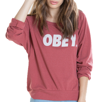 OBEY Girl Raglan Sweater OBEY FONT LOGO burgundy