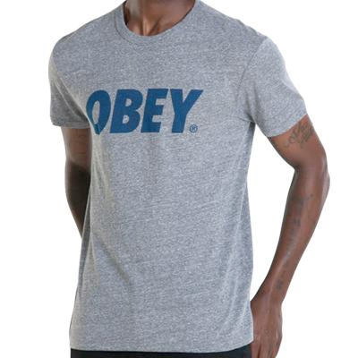 OBEY T-Shirt OBEY FONT LOGO triblend heather grey