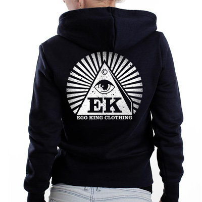 EGOKING Girl Hooded Zipper LOGO 5 black/white