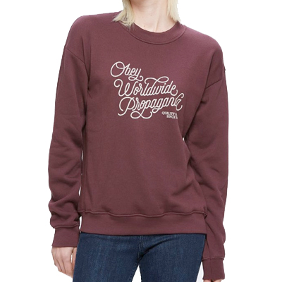 OBEY Girl Sweater WORLDWIDE QUALITY DISSENT maroon