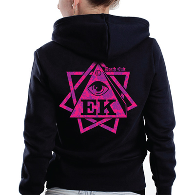 EGOKING Girl Hooded Zipper HEPTAGRAM FLOWERS black/pink