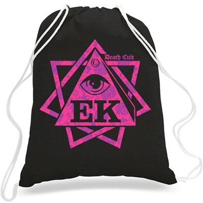 EGOKING Turnbeutel HEPTAGRAM FLOWERS black/pink