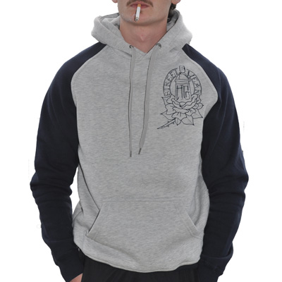 HG STREETWEAR Hoody ROSE heather grey/dark navy