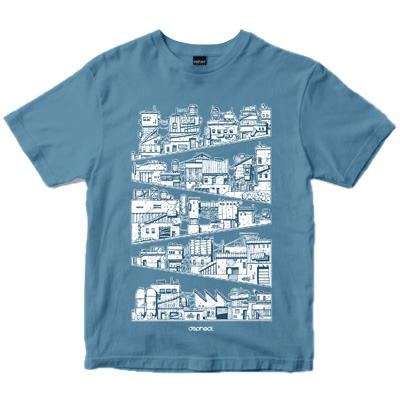 DEPHECT T-Shirt HILLSCAPE dusty blue