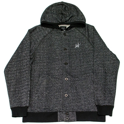 HUF Button Up Hoody SCRIPT CADET black