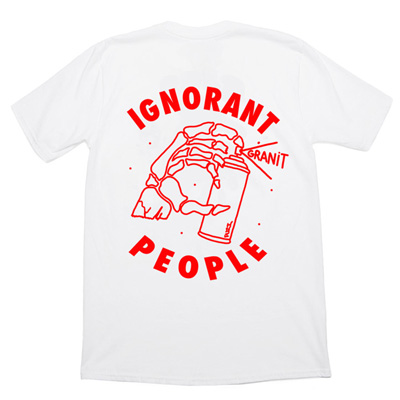 IGNORANT PEOPLE T-Shirt GRANIT white/red