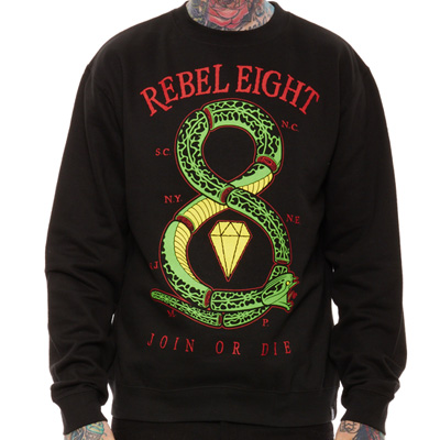REBEL8 Sweater JOIN OR DIE black/green