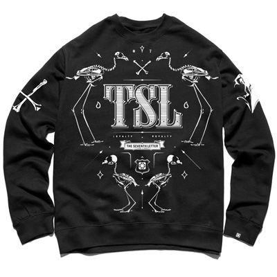 7TH LETTER Sweater KKADE SKELETON black/white