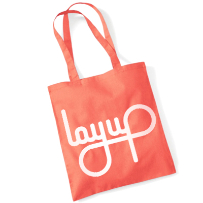 LAYUP Tote Bag LOGO coral orange/white
