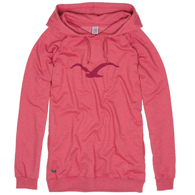 CLEPTOMANICX Girl Long Hoody MÖWE heather faded red