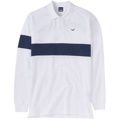 CLEPTOMANICX Longsleeve Polo Shirt BLOCK STRIPE white/navy