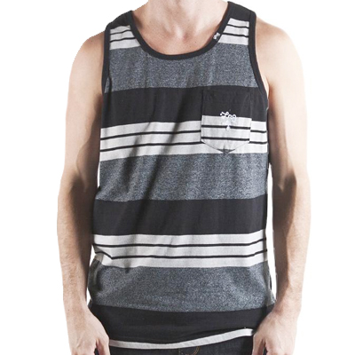 LRG Tank Top STRIPED black heather