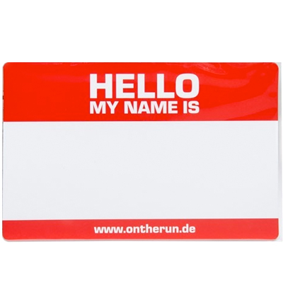 OTR Magnetic Sticker HELLO MY NAME (Large) red