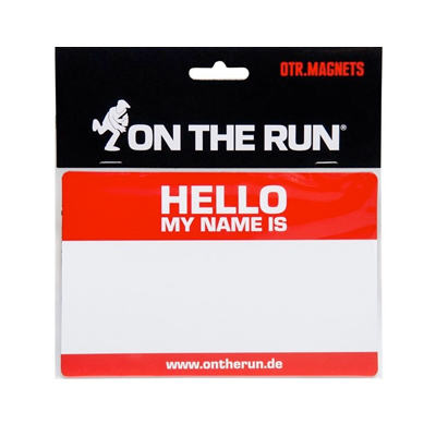 OTR Magnetic Sticker HELLO MY NAME (Medium) red