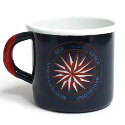 LASER Enamel Mug MEDITERRANEAN SEA navy/red