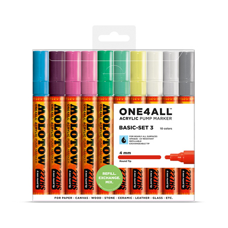 MOLOTOW ONE4ALL Marker 227HS 4mm 10pcs Set Basic 3