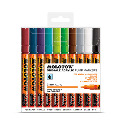 MOLOTOW ONE4ALL Marker 127HS 2mm 10er Set Basic 2
