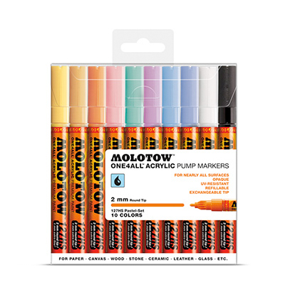 MOLOTOW ONE4ALL Marker 127HS 2mm 10er Set Pastell