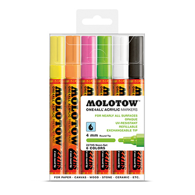 MOLOTOW ONE4ALL Marker 227HS 4mm 6er Set Neon
