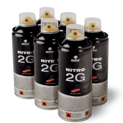 MTN NITRO 2G 400ml Spray Can 6-Pack black