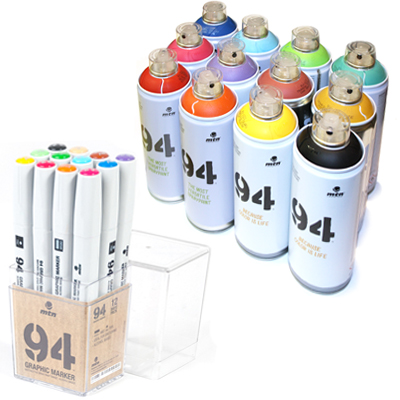 MTN 94 Graphic Twin Marker 12er Set & 12 Spraycans