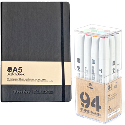 MTN 94 Graphic Twin Marker 12er Set & Blackbook A5 Package