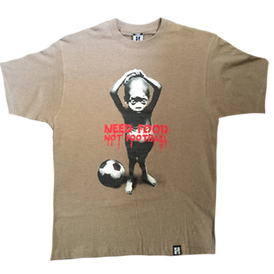 TH3 T-Shirt NEED FOOD NOT FOOTBALL heather brown