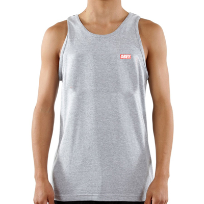OBEY Tank Top BAR LOGO heather grey