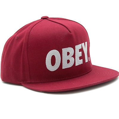 OBEY Snap Back Cap THE CITY LOGO burgundy