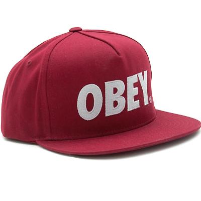 d38cfe6b62f Obey Clothing - OBEY Snap Back Cap THE CITY LOGO burgundy Logo Obey ...