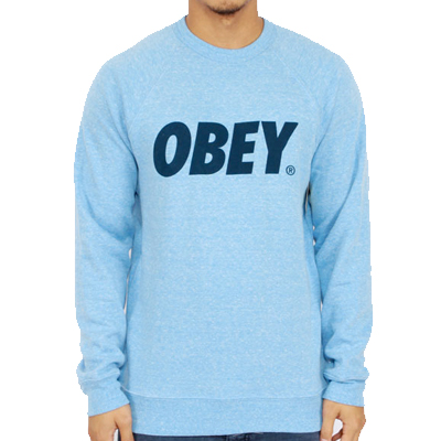OBEY Sweater OBEY FONT LOGO triblend heather blue
