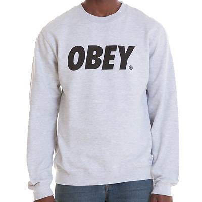 OBEY Sweater OBEY FONT LOGO heather grey/black
