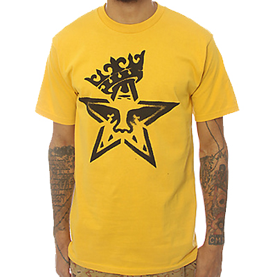 OBEY T-Shirt STAR CROWN STENCIL mustard