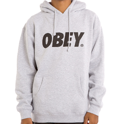 OBEY Hoody OBEY FONT LOGO heather grey/black