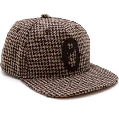 OBEY Snap Back Cap OLD TIMERS houndstooth brown