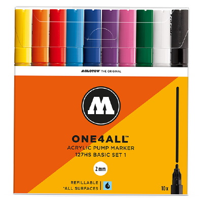 MOLOTOW ONE4ALL Acrylic Marker 127HS 2mm 10pcs Set Basic 1