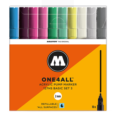 MOLOTOW ONE4ALL Acrylic Marker 127HS 2mm 10pcs Set Basic 3