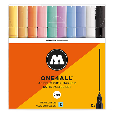 MOLOTOW ONE4ALL Acrylic Marker 127HS 2mm 10pcs Set Pastel