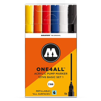 MOLOTOW ONE4ALL Acrylic Marker 127HS 2mm 6pcs Set Basic 1