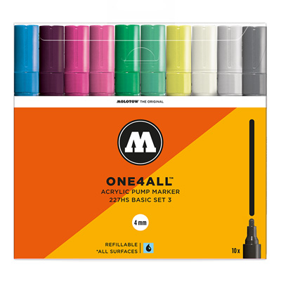 MOLOTOW ONE4ALL Acrylic Marker 227HS 4mm 10er Set Basic 3