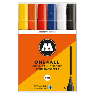 MOLOTOW ONE4ALL Acrylic Marker 227HS 4mm 6er Set Basic 1
