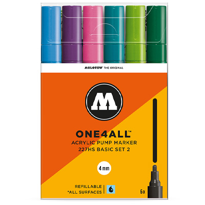 MOLOTOW ONE4ALL Acrylic Marker 227HS 4mm 6er Set Basic 2