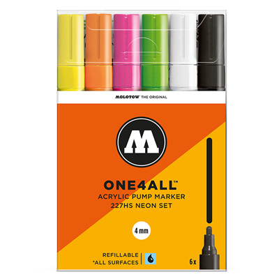 MOLOTOW ONE4ALL Acrylic Marker 227HS 4mm 6er Set Neon