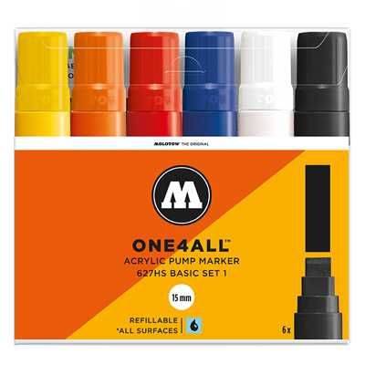 MOLOTOW ONE4ALL Acrylic Marker 627HS 15mm 6er Set Basic 1