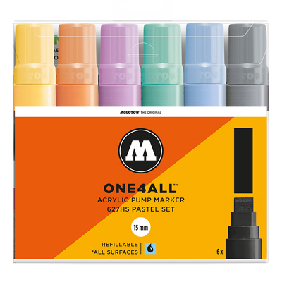 MOLOTOW ONE4ALL Acrylic Marker 627HS 15mm 6er Set Pastell