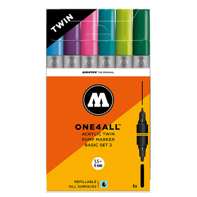 MOLOTOW ONE4ALL Acrylic Twin Marker 6er Set Basic 2