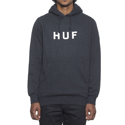 HUF Hoody ORIGINAL LOGO heather charcoal/white