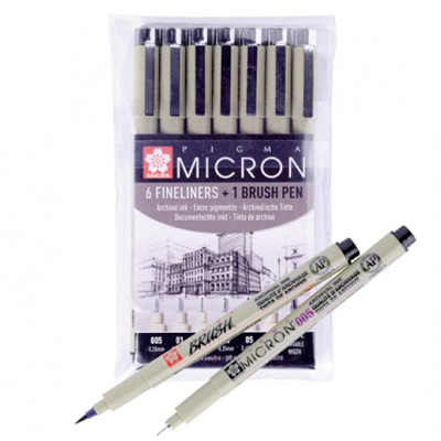 SAKURA Fineliner PIGMA MICRON Special Set 6 + 1 Brush